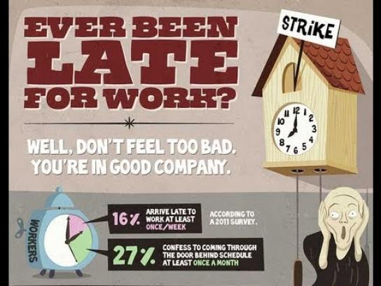 OnlineClock.net Digital Ad -  How to get away with being late for work