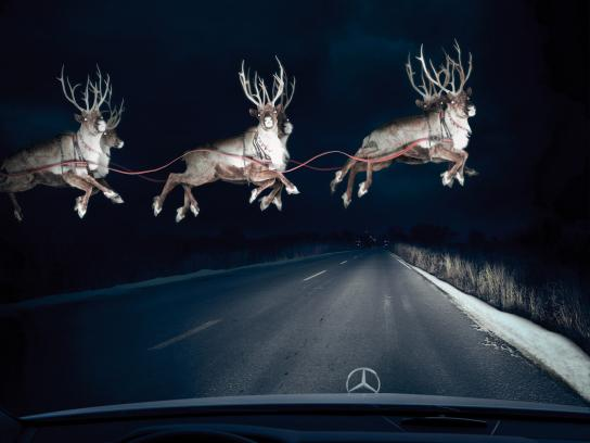 Mercedes Print Ad -  Reindeer in Headlights