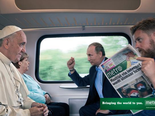 Metro Print Ad -  The Pope - Merkel - Putin
