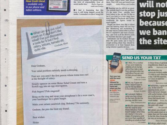 Heinz Print Ad -  Response to Metro text