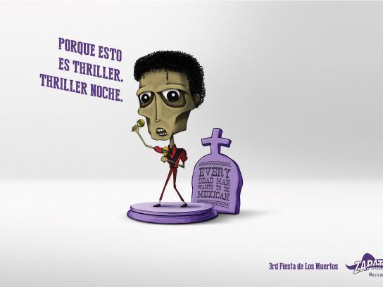 Zapata Bar Print Ad -  Fiesta de Los Muertos, Michael Jackson