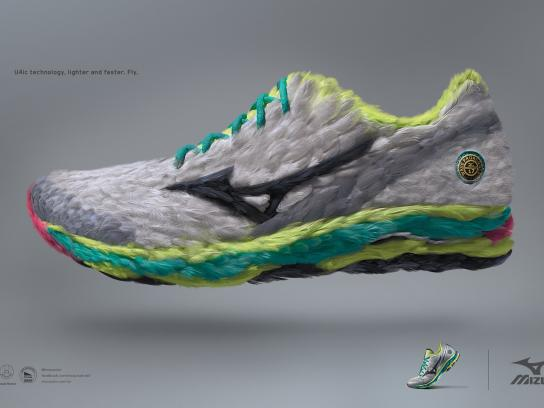 Mizuno Print Ad -  Feathers Headline and copy text (in