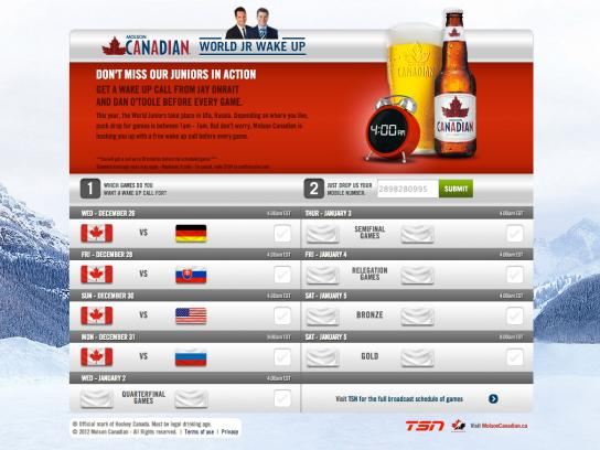 Molson Canadian Digital Ad -  World Jr. Wake Up