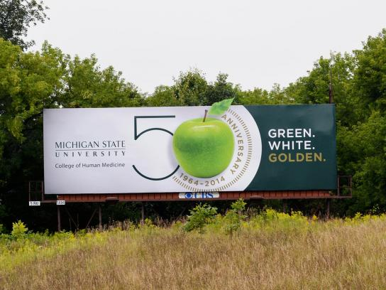 Michigan State University Outdoor Ad -  50th Anniversary, 1