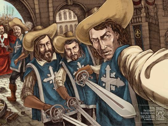 National Library of Romania Print Ad -  Musketeers Selfie