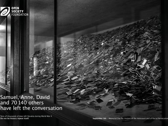 Open Society Foundation Print Ad - Never again