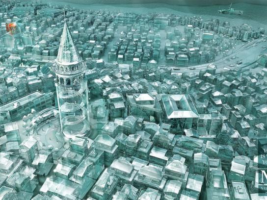 Next Navigation Systems Print Ad -  Glass city