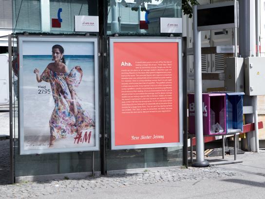 Neue Zürcher Zeitung Outdoor Ad - Aha