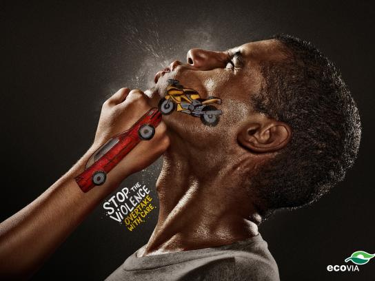 Ecovia Print Ad -  Stop the Violence, Overtake with care