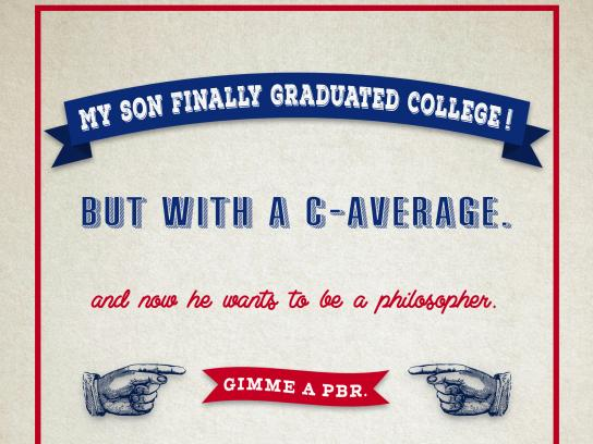 Pabst Blue Ribbon Print Ad - College