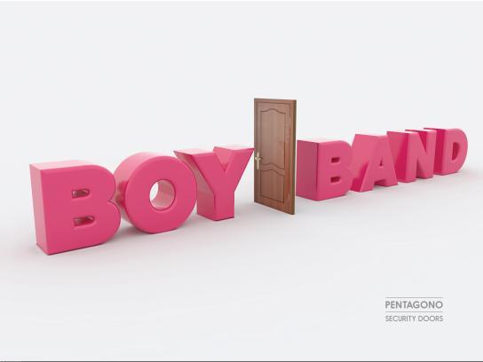 Pentagono Security Doors Print Ad - Boy Band