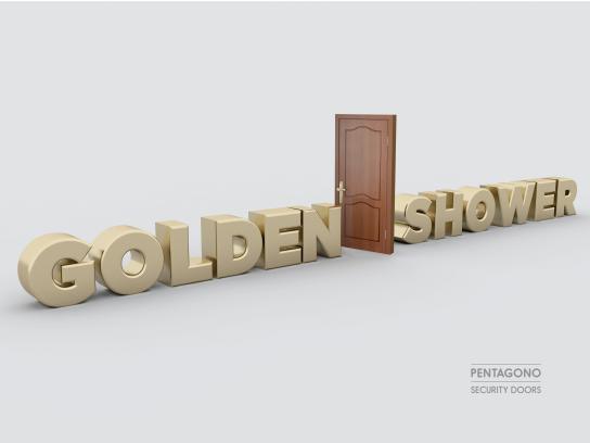 Pentagono Security Doors Print Ad - Golden Shower