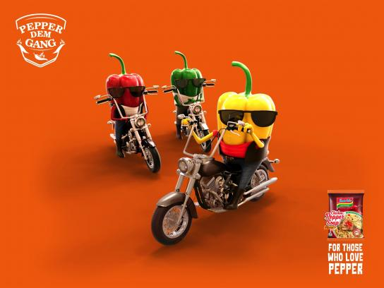Indomie Noodles Print Ad - Pepper Dem Bikers