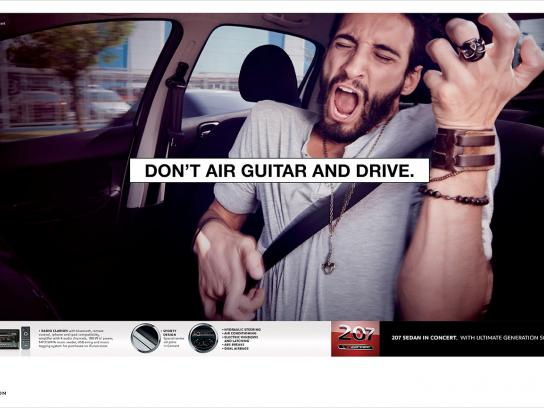 Peugeot Print Ad -  Air guitar