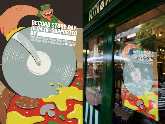 Record Store Day Outdoor Ad -  Pizza