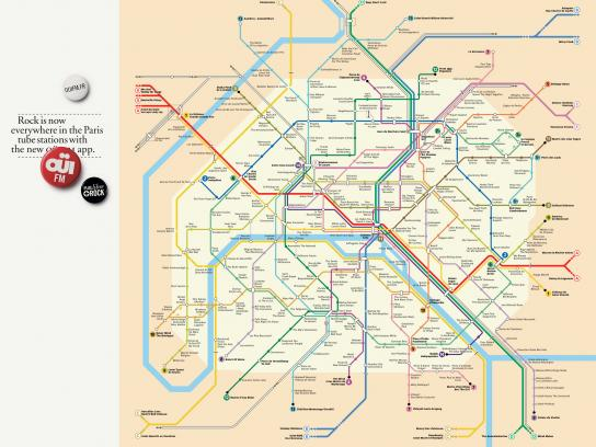 Oui FM Print Ad -  Paris Tube Map