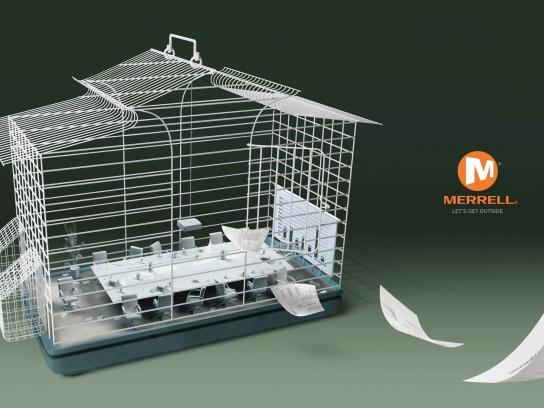 Merrell Print Ad -  Plastic cage