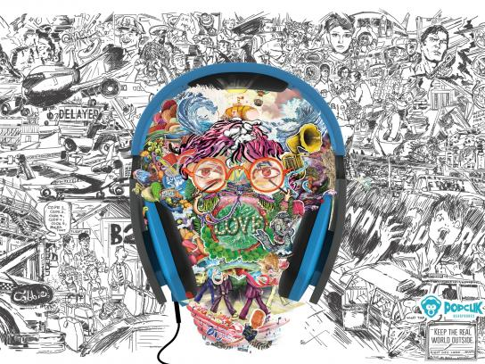 PopClik Headphones Print Ad -  Beatles
