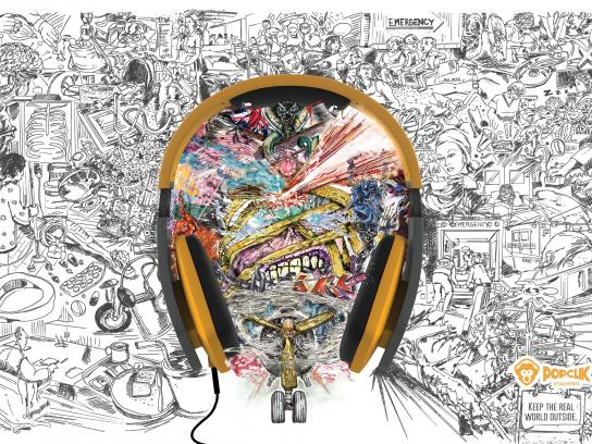 PopClik Headphones Print Ad -  Iron Maiden