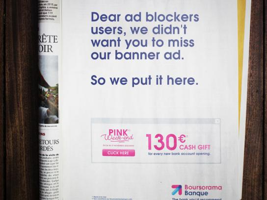 Boursorama Print Ad - Pink Week-end