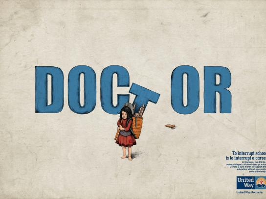 United Way Print Ad - Education Without Interruption - Doctor