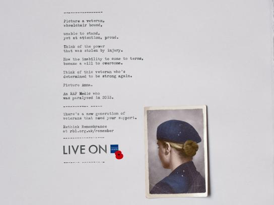 The Royal British Legion Print Ad - Anna