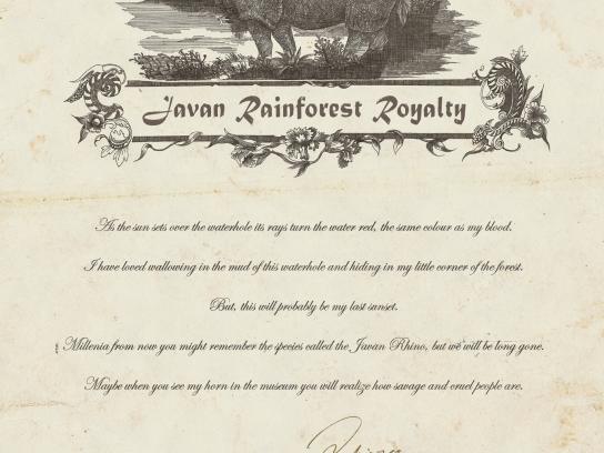 WWF Print Ad -  Last Words of the Javan Rhino