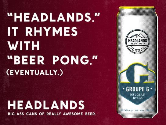 Headlands Print Ad -  Beer pong