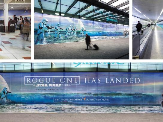 Walt Disney Studios Outdoor Ad - Rogue One: A Star Wars Story - Gatwick Airport Terminal Takeover