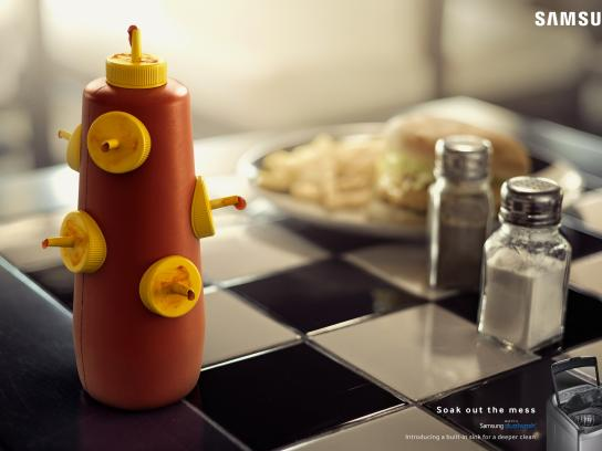 Samsung Print Ad -  Soak out the mess - ketchup