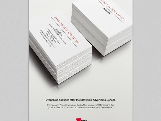 Slovenian Advertising School Outdoor Ad - Buzz cards for the future