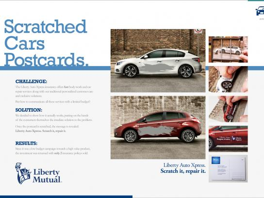Liberty Mutual Print Ad -  Scratched Cars Postcards