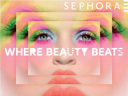 Sephora Print Ad -  Where beauty beats, 1