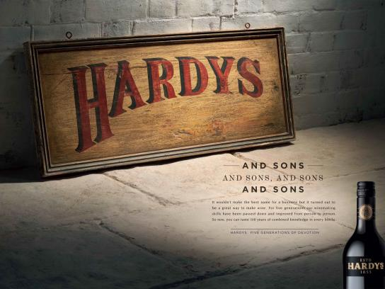 Hardys Wine Print Ad -  Sign