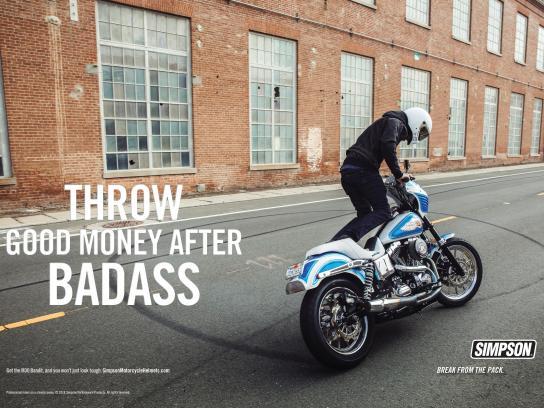 Simpson Motorcycle Helmets Print Ad - Badass