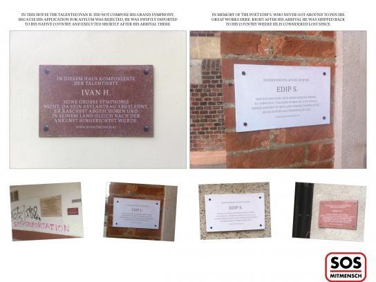 SOS Mitmensch Outdoor Ad -  Commemorative plaques