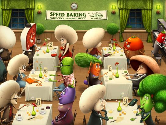 Fridrih Mushrooms Print Ad -  Speed baking