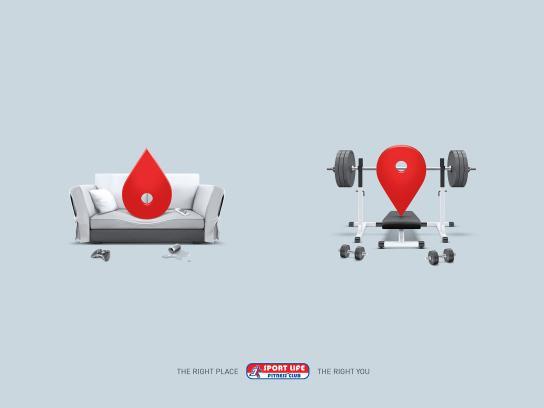 Sport Life Fitness Club Print Ad -  Pin-Point