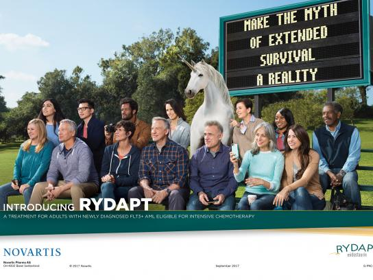 Novartis Print Ad - Sports Fan Unicorn