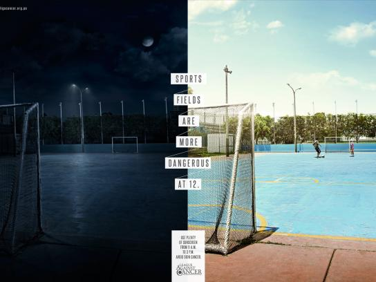 League against cancer Print Ad -  Sports Fields