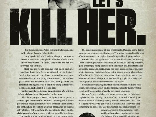 The Life Foundation Print Ad -  Kill her