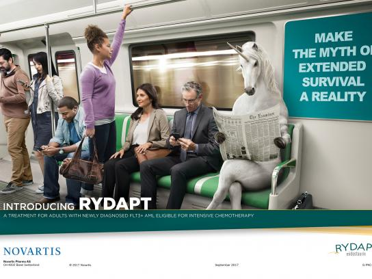 Novartis Print Ad - Subway Commuter Unicorn