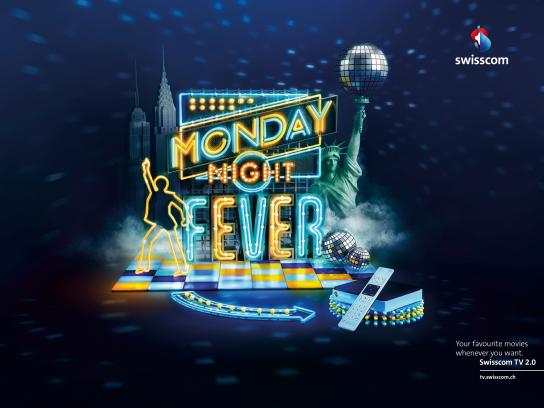 Swisscom Print Ad -  Monday Night Fever