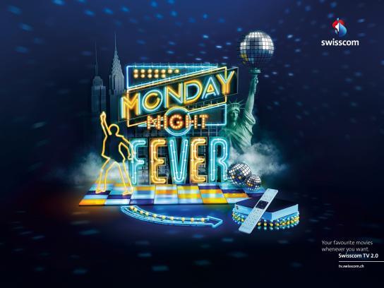Swisscom Print Ad -  Monday Night Fever