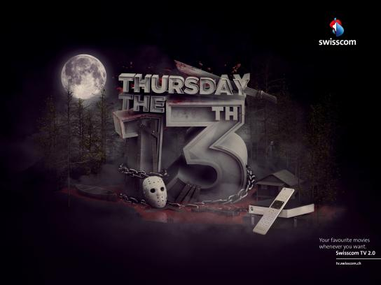 Swisscom Print Ad -  Thursday the 13th