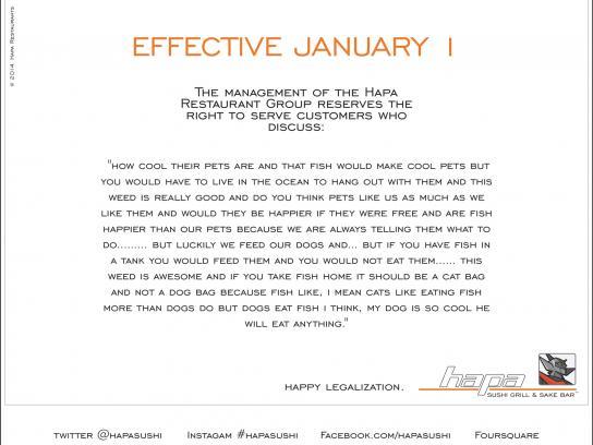 Hapa Sushi Direct Ad -  Effective January 1