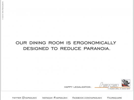 Hapa Sushi Direct Ad -  Ergonomically Designed