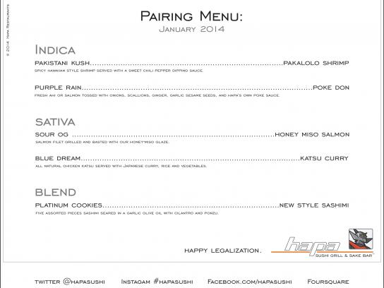 Hapa Sushi Direct Ad -  Pairing Menu