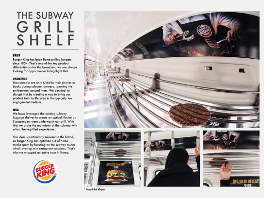 Burger King Ambient Ad - The Subway Grill Shelf