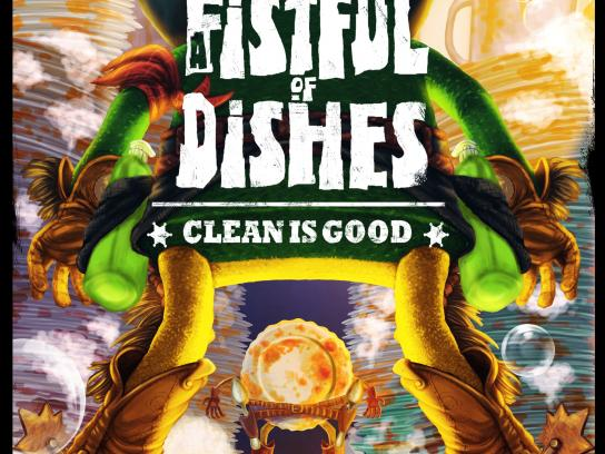 Todo Brillo Print Ad - A fistful of dishes
